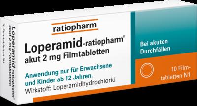 LOPERAMID-ratiopharm akut 2 mg Filmtabletten 10 St